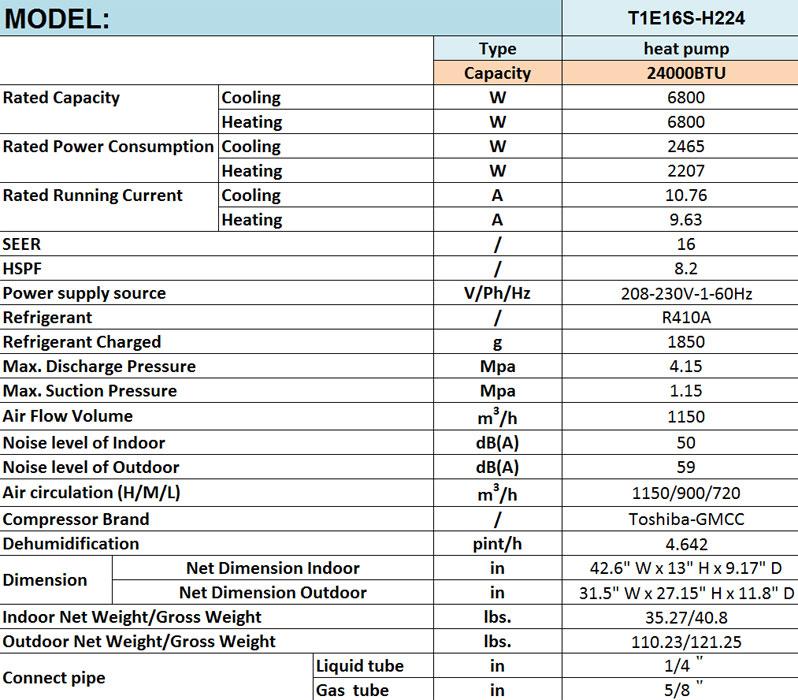T1e16s H224 24000 Btu Mini Ductless Split Air Conditioner