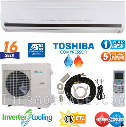 2 Ton Senville Mini Split, 24000 BTU AC Air Conditioner w/ Heat Pump