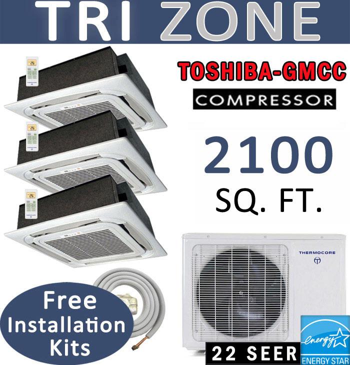 42000 Btu Tri Zone Ductless Mini Split 12000 X 4 Ceiling