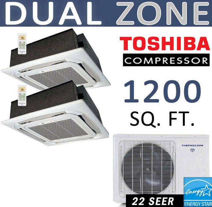 2 Ton Ductless Mini Split Air Conditioner 12000 X 2