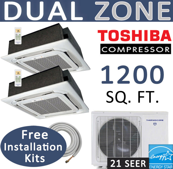 Dual Zone Thermocore Mini Split, 24000 BTU AC Air Conditioner w/ Heat Pump