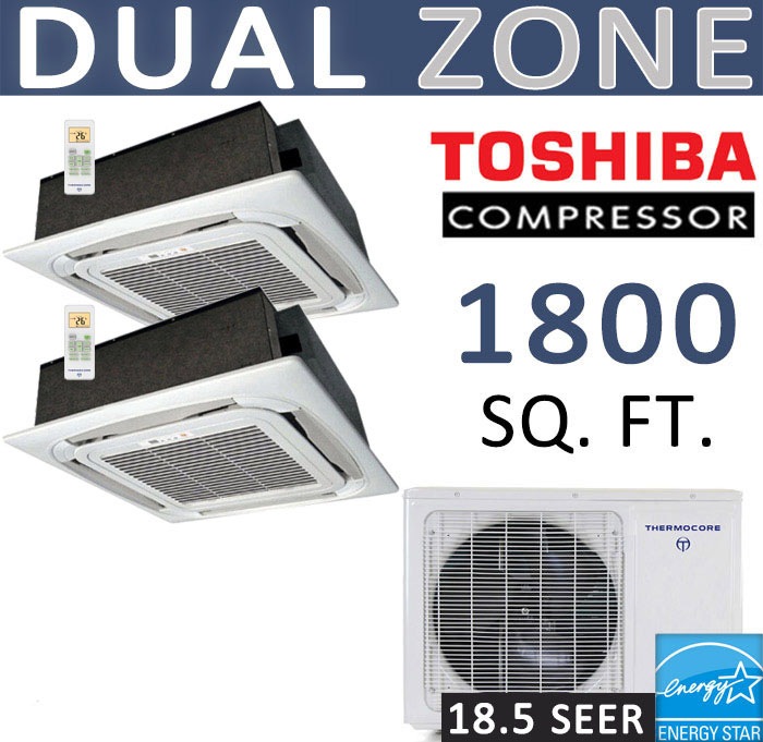 Details about 36000 BTU Ductless Mini Split Air Conditioner : 18000 x 2 -  Ceiling Cassette
