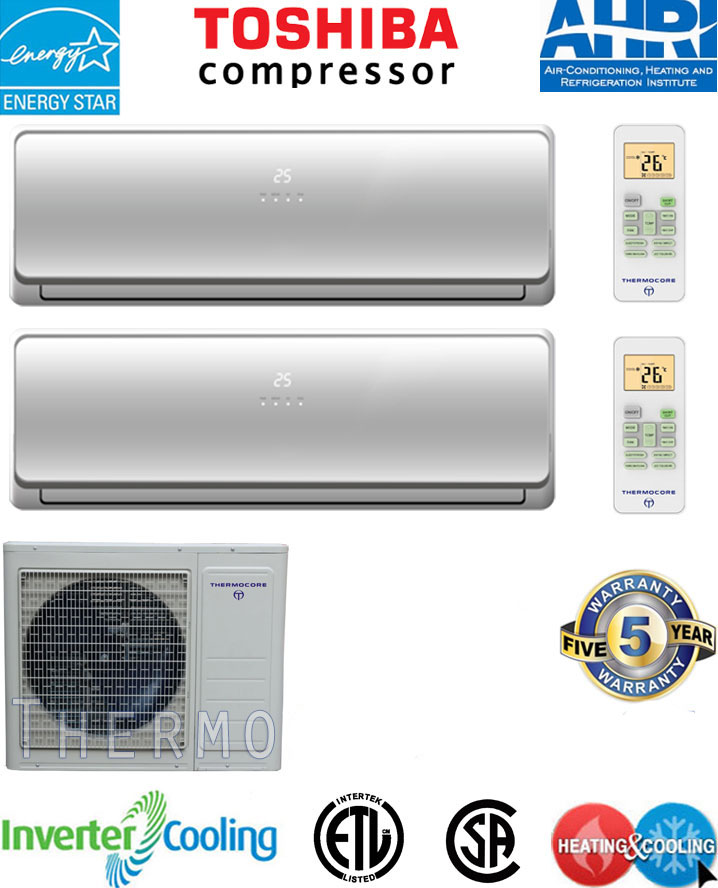 Thermocore t121d-h218 Dual Zone Energy Star Mini Ductless Split 21 SEER