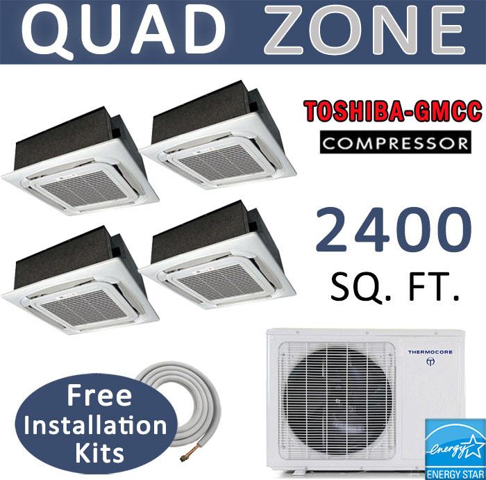 Quad Ductless Mini Split Air Conditioner Heat Pump 12000