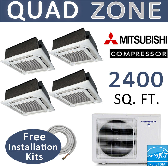 48000 btu quad zone ductless mini split 12000 x 4 ceiling cassette dual zone thermocore mini split 24000 btu ac air conditioner w heat pump