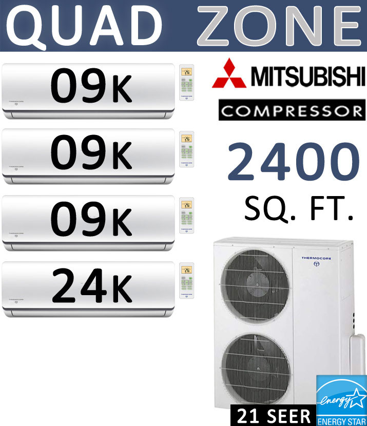 Dual Zone Senville Mini Split, 24000 BTU AC Air Conditioner w/ Heat Pump