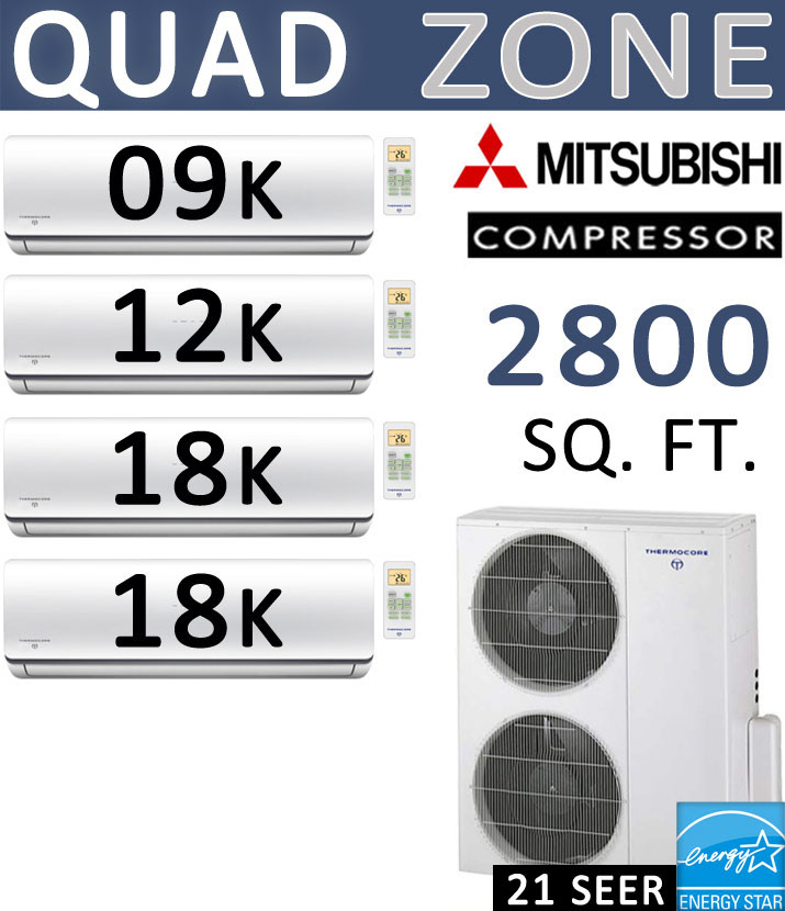 Dual Zone Senville Mini Split, 24000 BTU AC Air Conditioner w/ Heat Pump