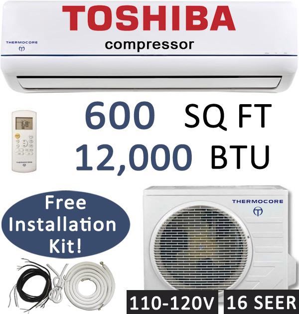 16 seer 12000 btu ductless ac mini split air conditioner heat pump 110v 120v ebay. Black Bedroom Furniture Sets. Home Design Ideas