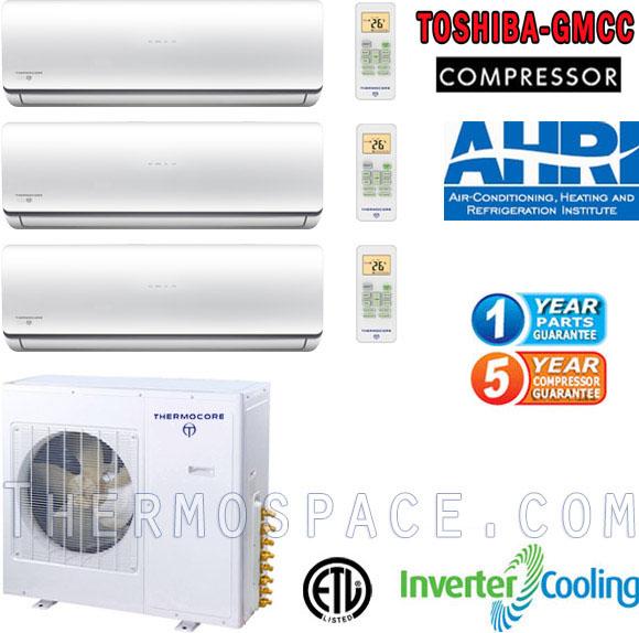 T323D-H248 9+18+18 Tri Ductless Split Air Conditioner: 45000 BTU