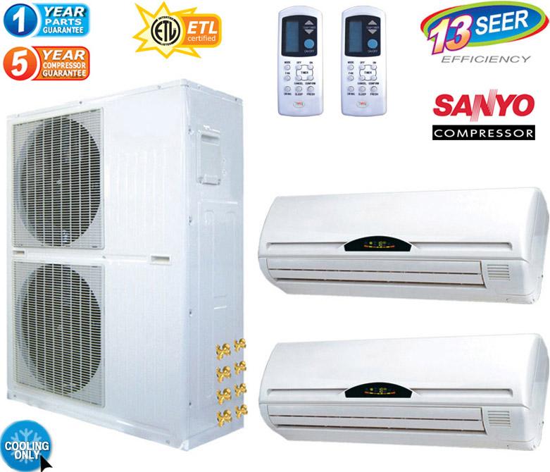 5 Ton Dual Zone Ductless Mini Split Air Conditioner 60000