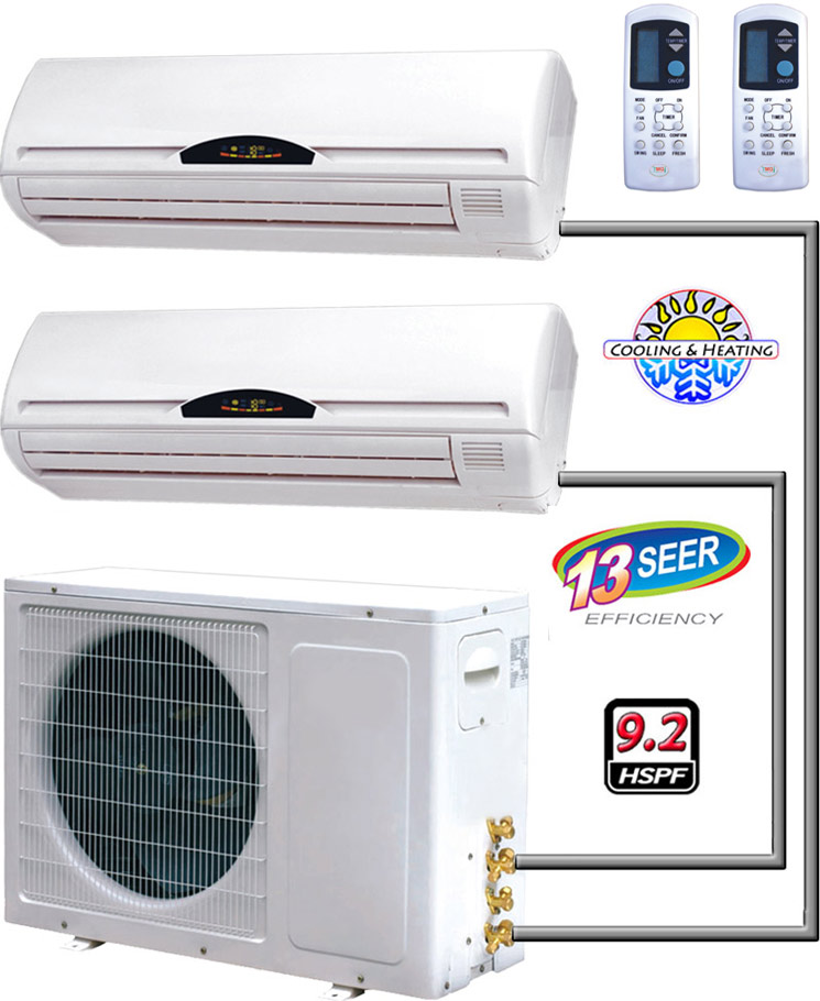 24000 Btu Dual Zone Ductless Mini Split Ac Heat Pump