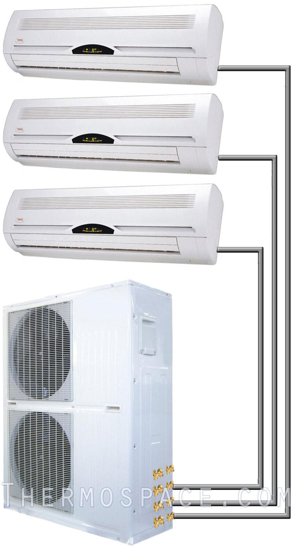 60000 Btu Tri Zone Ductless Split Air Conditioner 5 Ton